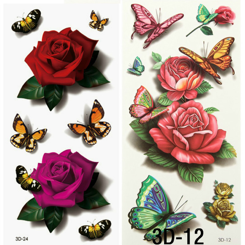 2pcs 3d color fake small flower rose waterproof temporary for Removal of temporary tattoos