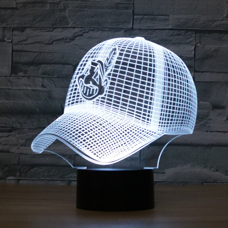 8074 Cleveland Indians Baseball Hat 3D Atmosphere lamp 7 Color Changing Visual illusion LED Decor Lamp