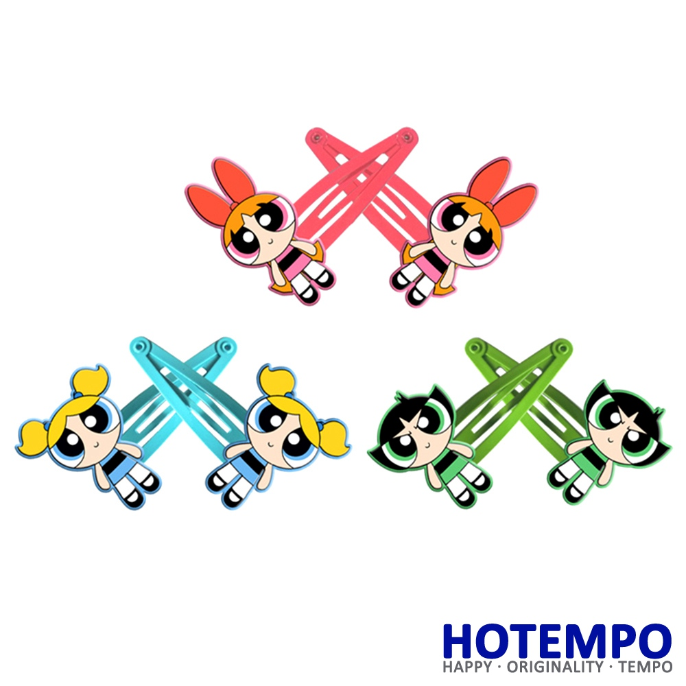 Powerpuff Girls Action Figure Blossom Bubbles Cartoon Buttercup TV Figure Toys Kid Hair Clips For Girls HairPins