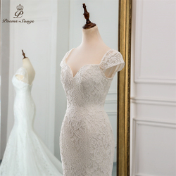 PoemsSongs 2019 new cap sleeve style lace wedding dress for wedding Vestido de noiva Mermaid wedding dresses ivory / white color 5