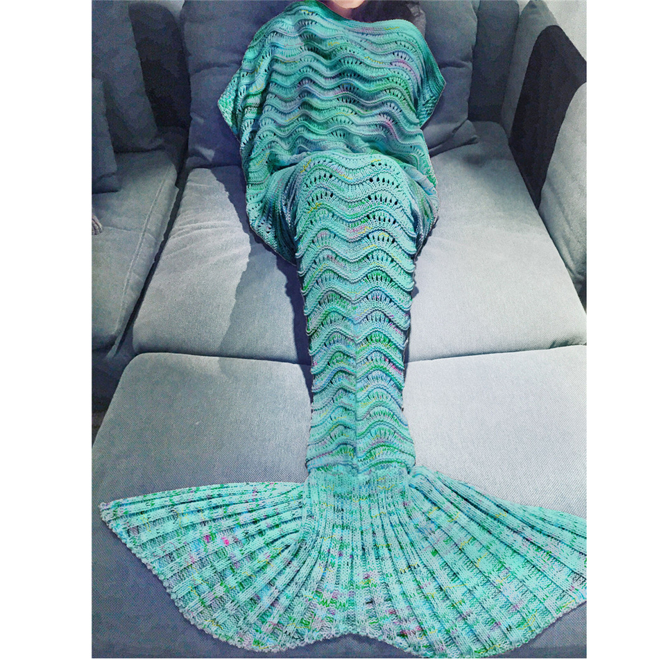 Christmas Gift Yarn Knitted Hollow Mermaid Tail Blanket Handmade Crochet Mermaid Blanket Kids Adult Soft Sleeping Bag 180x90cm image