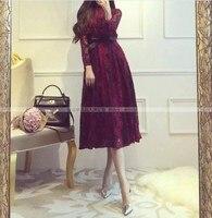 2017 New Arrival Girls Fashion Slim Lace Dresses Wine Red Casual Women Elegant Black Dress Office