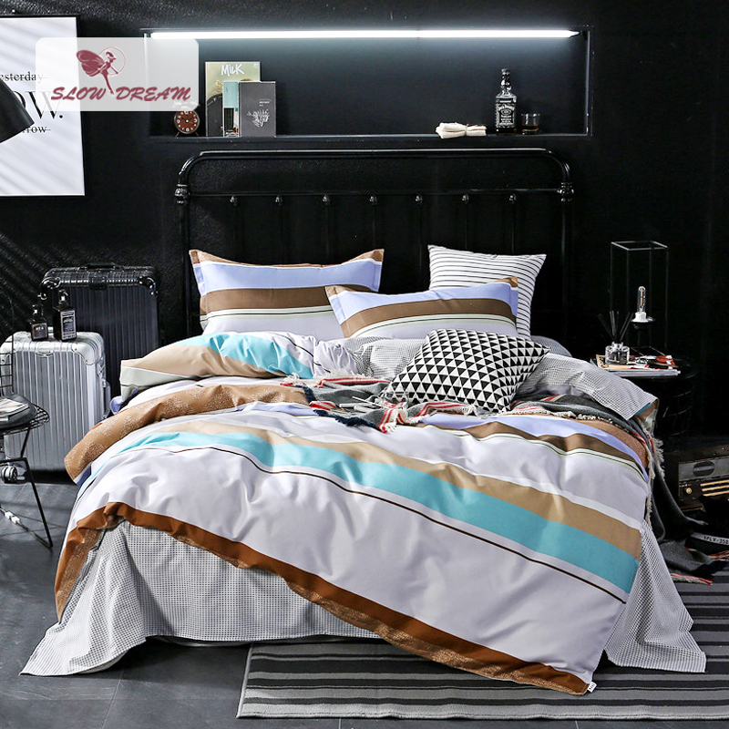 SlowDream Bedding Set Comforter Bedspread Duvet Cover Double Bed Sheets  Linens Nordic Stripe Adult Twin Queen King Bedclothes