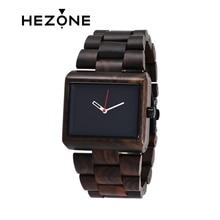 HEZONG 2017 Sándalo Negro Unique Analógico Clásico Reloj de pulsera de Los Hombres de Primeras Marcas de Lujo Reloj de pulsera de Madera Clásico Reloj de Cuarzo de Negocios