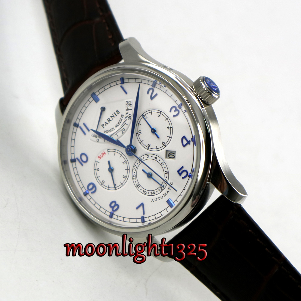 лучшая цена 42mm parnis white dial Coffee strap Multifunction Sapphire Glass 26 jewels miyota 9100 Automatic mens Watch