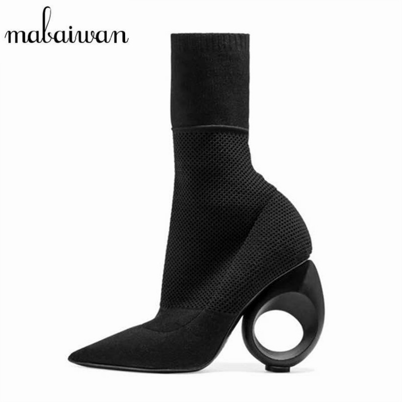 Mabaiwan Designer Short Booties Strange High Heel Shoes Woman Pointed Toe Stretch Ankle Boots Knit Sock Rubber Boots Women Pumps designer luxury designer shoes women round toe high brand booties lace up platform ankle boots high quality espadrilles boot