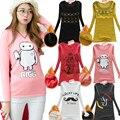 plus size 2016 winter women warm velvet t shirt women kawaii long sleeve cropped feminino women tops