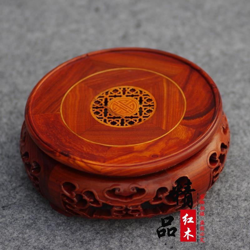 Rosewood red sandalwood wood carving teapot vase bonsai buddha decoration circle base red sandalwood circle base in Figurines Miniatures from Home Garden