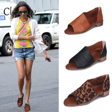 size 35-43 New fish mouth sandals side air shoes retro square with open toe non-slip leopard Roman style womens
