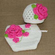 Сладкий цветок крючком вязаная шапка шляпа новорожденный малышей девушка теплый ручной шапки осень зима вязание шляпа и наряды