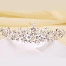 2016 New Fashion flower diadem Crystal Crown Headpiece Rhinestone Bridal Tiara Gift Wedding Hair Accessories Female Peal Jewelry