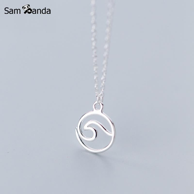 Real 925 Sterling Silver Simple Geometric Circle Wave Necklaces & Pendants For Women Girls Fashion Jewelry Accessories GiftReal 925 Sterling Silver Simple Geometric Circle Wave Necklaces & Pendants For Women Girls Fashion Jewelry Accessories Gift