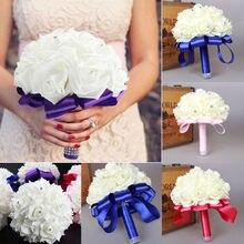 Стиль Свадебный букет искусственный цветочный свадебный Шелковый Искусственный цветок роза букет украшение для дома свадебный Декор Свадебный букет