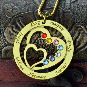 Image 3 - Strollgirl 925 ayar gümüş özel kolye anneler kalp kalp kolye ile 7 çocuklar isimleri ve Birthstones gümüş takı