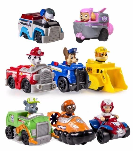 Lovely 8pcs/set Genuine Paw Patrol Vehicle Car Robot Dog Skye Ryder Marshall Chase  Rubble Rocky
