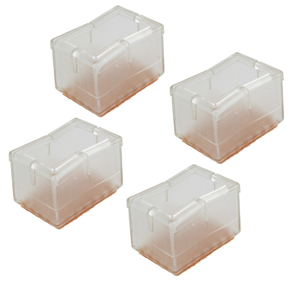 Pack Of 4 Rectangular Transparent Silicon Gel Chair Leg Caps Feet Pads  Furniture Table Covers Wood