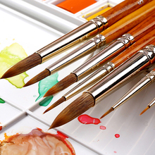 HWAHONG 1Piece Nylon Hair Watercolor Paint Brush Professional Pointed Painting Brushes For Artist Stationery Art Supplies 345