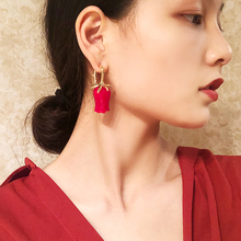 Fashion brand design Cute big exaggeration Red Rose Flower drop Earring Charming gold color long Earrings for Women Jewelry