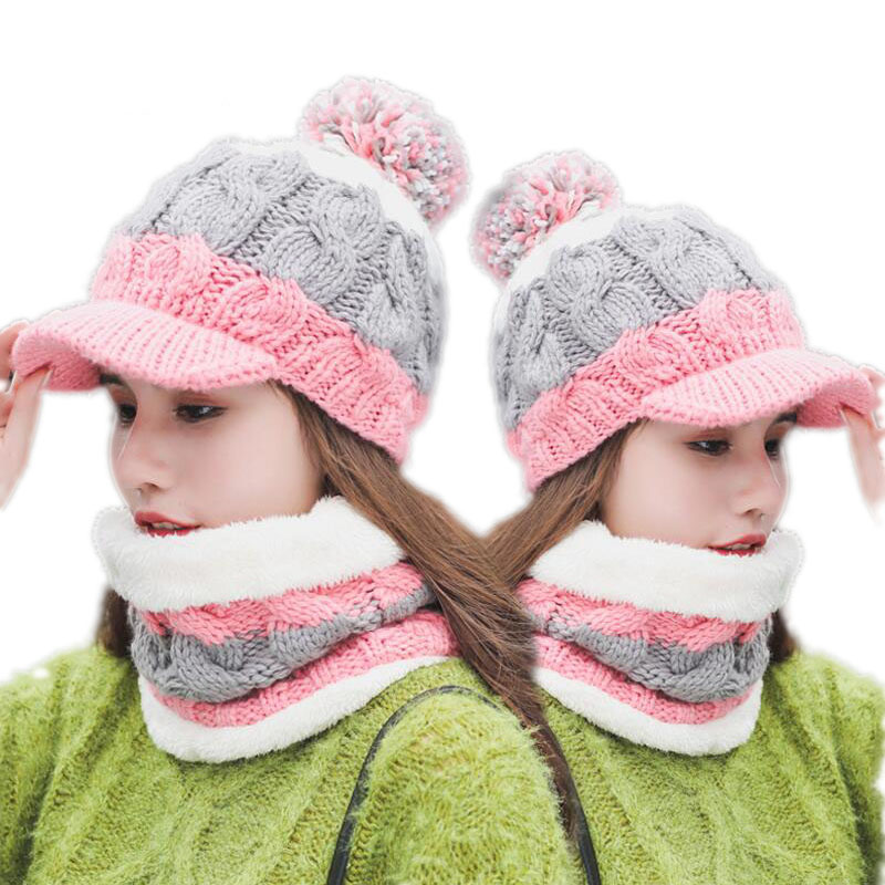 SUOGRY Hot Ski Girl 2018 New Brand Big Fur Pom Poms Ball Scarf Knitted Winter Hat Women Beanie Hat Thick Skullies Female Cap