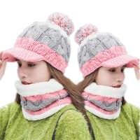 SUOGRY Hot Ski Girl 2018 New Brand Big Fur Pom Poms Ball Scarf Knitted Winter Hat Women Beanie Hat Thick Skullies Female Cap