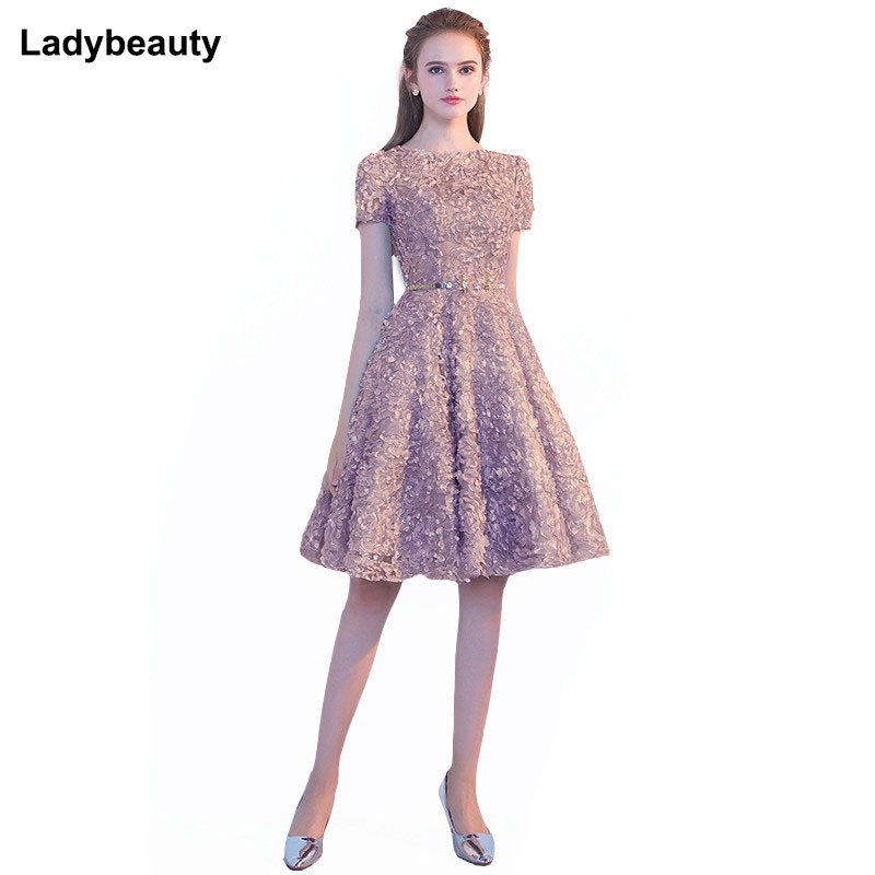 New Arrival Short Evening Dress 2018 Elegant Banquet Short sleeve Prom Dresses Lace Party Dress O-Neck Formal Evening dresses
