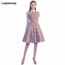 New Arrival Short Evening Dress Elegant Banquet Short sleeve Prom Party Dress O-Neck Lace  Formal Evening Gowns