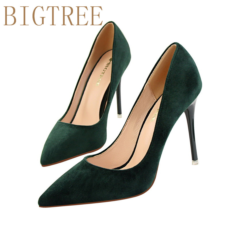 9 Colors Classics Women's Shallow Office Shoes New Arrival Concise Solid Flock Pointed Toe Women Pumps Fashion High Heels Shoes new 2017 spring summer women shoes pointed toe high quality brand fashion womens flats ladies plus size 41 sweet flock t179