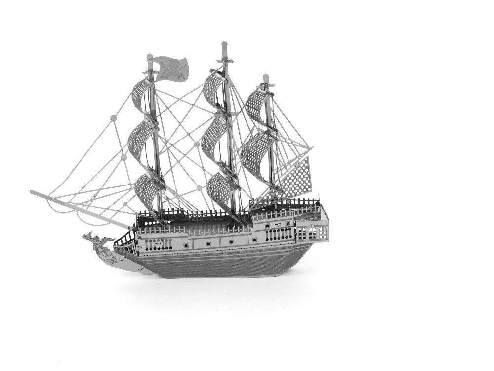 High quality 3D puzzles 3D metal model DIY Pirates of the Caribbean Black Pearl No. Sailboat Jigsaws toys for kids/adult kazi 608pcs pirates armada flagship building blocks brinquedos caribbean warship sets the black pearl compatible with bricks