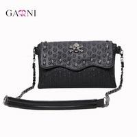Garni 2017 Vintage Fashion Skull Women Messenger Bags Rivet Envelope Mini Clutch Bags Crossbody Ladies Punk