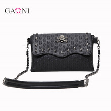 Garni 2017 Vintage Clutch Skull Bags Women Rivet Mini Fashion Messenger Bags Crossbody Envelope Ladies Punk Shoulder Bag