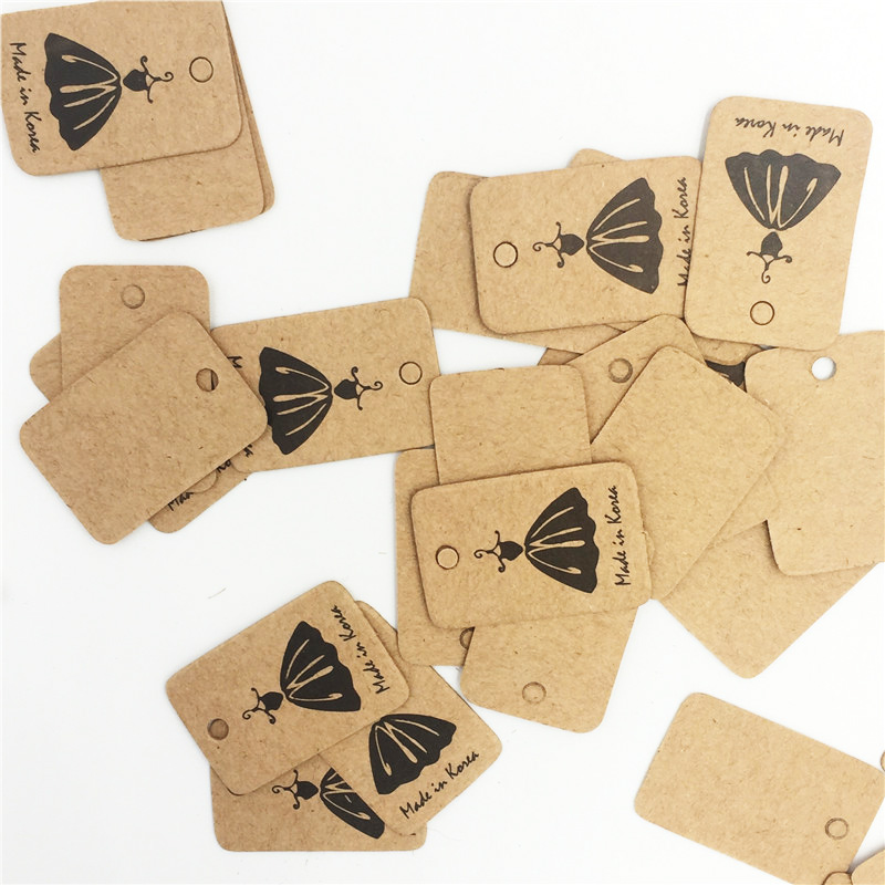 2x3cm small black skirt square square kraft paper tags for Custom tags for crafts