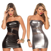 Hot Selling Sexy Wet Look Black/Silver Women Sexy Faux Leather Dress Club Wear Costumes Clothing PVC Sexy Cat Suits
