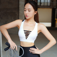 2018 New Women Patchwork Professional Sporting Tank Tops Sexy Bra Cross Back Hollow Out Crop Top