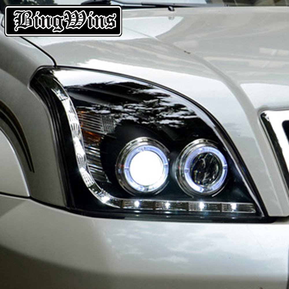 Car Styling Head Lamp Case For Toyota Prado LC200 Headlights 2004-2009 LED O Angel Eyes Headlight DRL Bi Xenon Lens HID Low Beam akd car styling for toyota highlander led headlights 2015 angel eye headlight drl bi xenon lens high low beam parking fog lamp