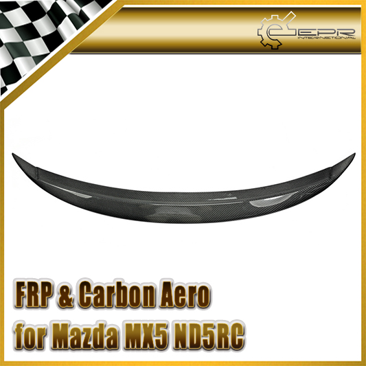 Car styling For Mazda MX5 ND Miata Garage Vary Style Carbon Fiber Ducktail Rear Spoiler Glossy Fibre Finish Trunk Wing Bodykit
