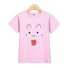 060b750e3f9814 Śmieszne kotek dziewczyny t-shirt cute cat wzór dzieci bluzki krótki rękaw  druku ubrania dziewczynka lato trójniki kid dziecko k.