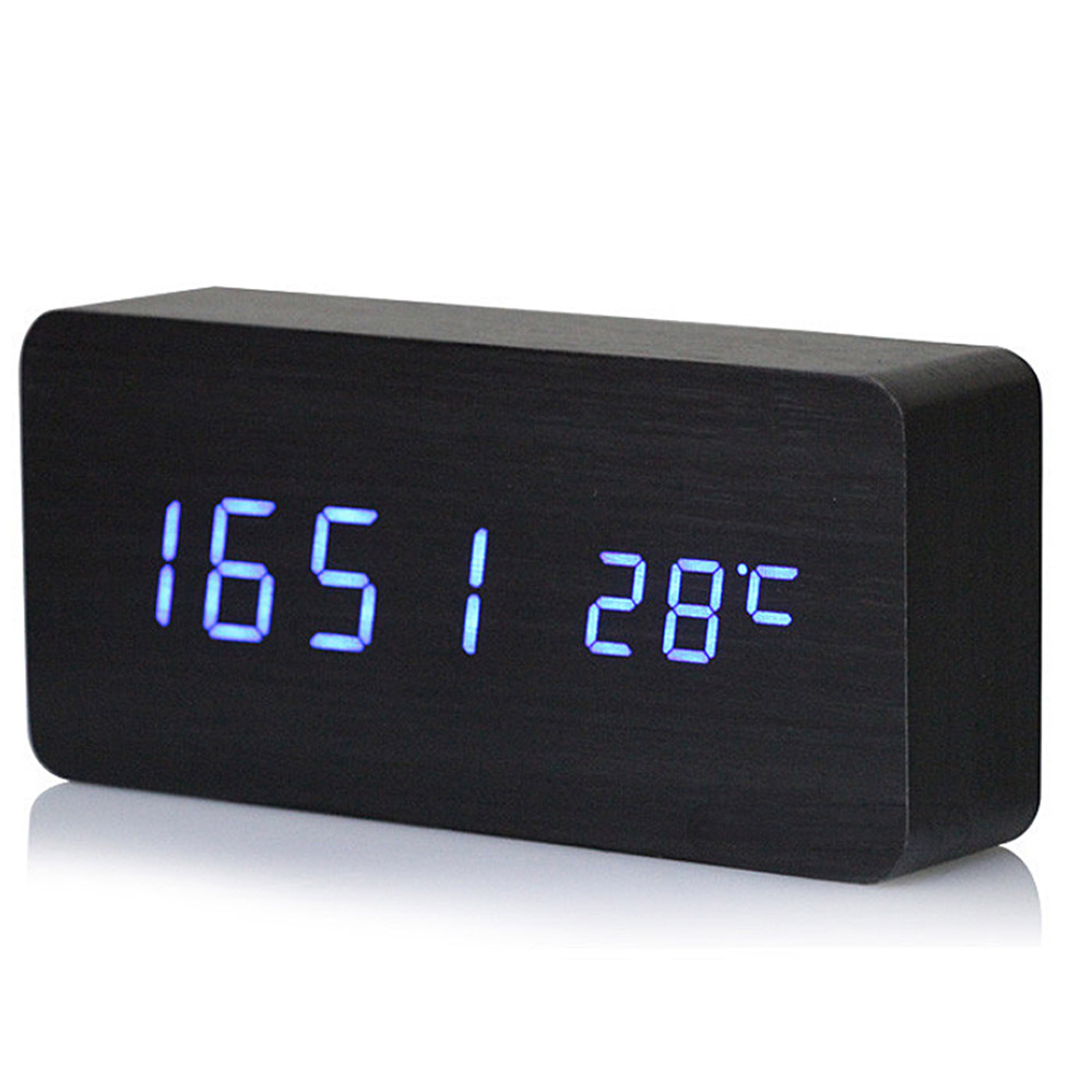 ราคา Imitation Wood Led Blue Light Digital Cuboid Cube Voice Control Alarm Clock With Time Date Temperature Display Black Intl จีน