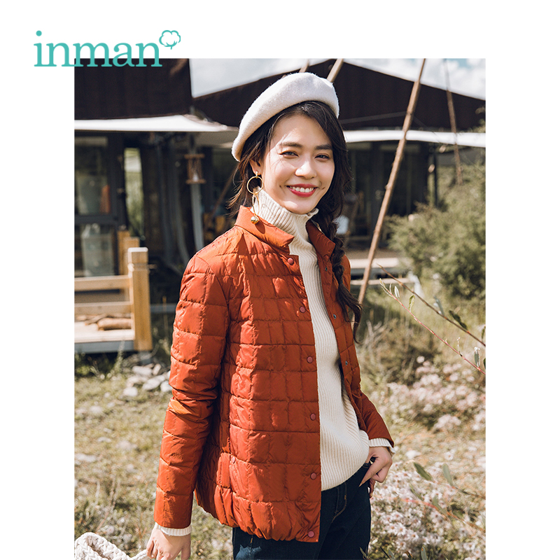INMAN Winter New Arrival Female High Collar Plaid Loose Casual Short Section Women   Down     Coat