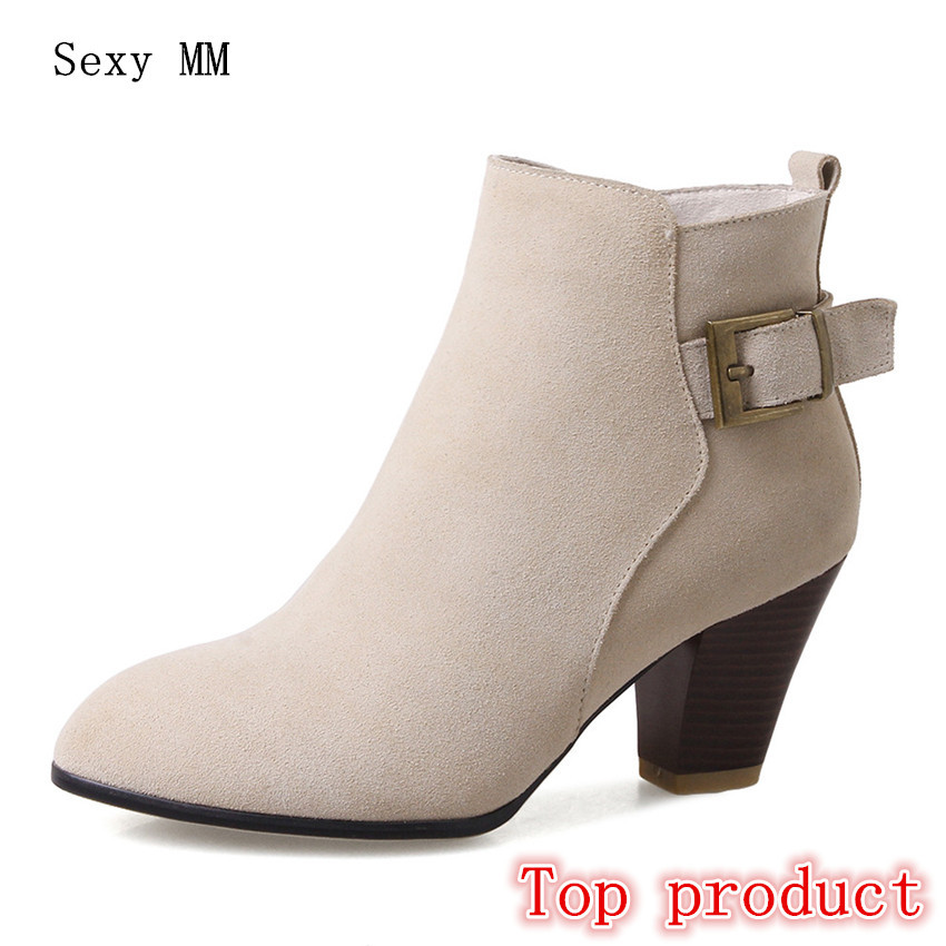 Genuine Leather Women High Heel Ankle Boots Spring Autumn Shoes Woman Short Boots High Quality Plus Size 34 - 40 41 42
