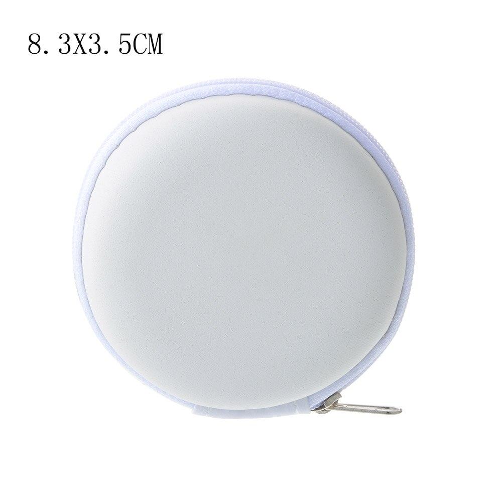 Чехол-контейнер для монет, наушников, защитная коробка для хранения, цветные наушники чехол для путешествий, сумка для хранения наушников, кабель для передачи данных, зарядное устройство - Цвет: White Round 8.5cm