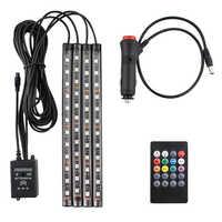 4 piezas 12V luz interior del coche RGB tira de cinta LED 5 12 v música/IR/aplicación kit de Control automático decorativo Flexible luz antiniebla Cable de neón