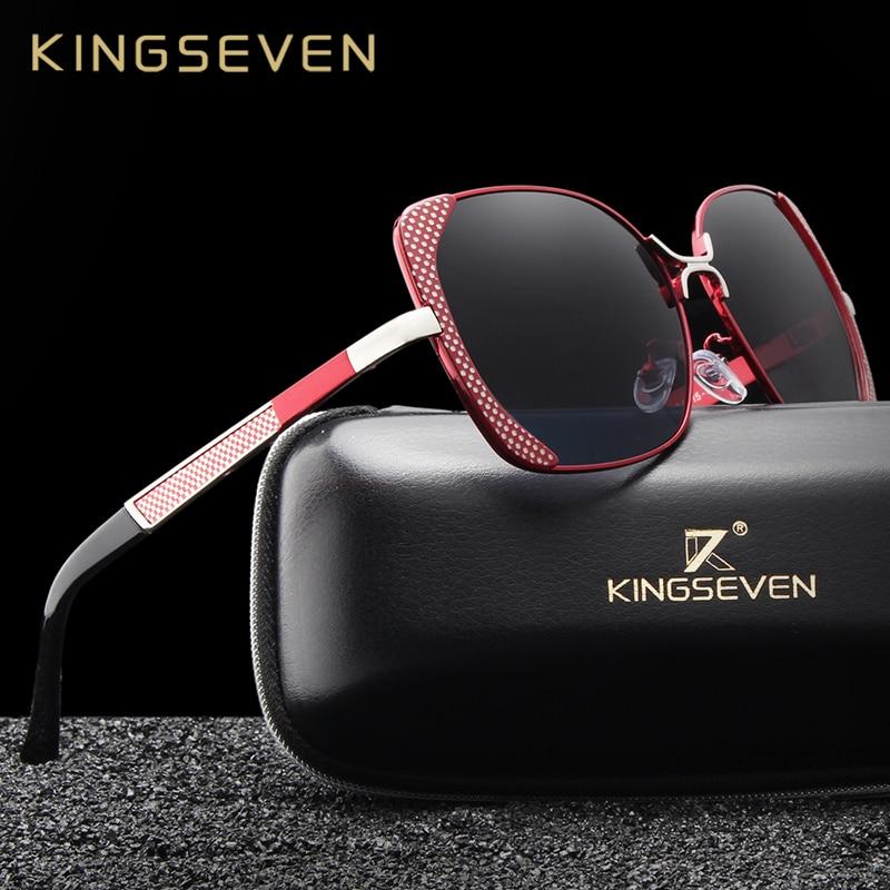 KINGSEVEN Marque Design De Luxe lunettes de Soleil Polarisées Femmes Dames  Gradient Papillon Lunettes de Soleil a22b96fcb7f9