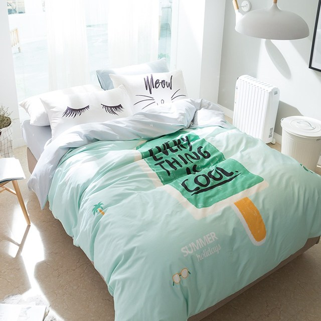 Green Popsicles Pattern Duvet Cover Eyelash Pillowcase Light Bedding Set 4pcs Queen Size Sets Fresh Style