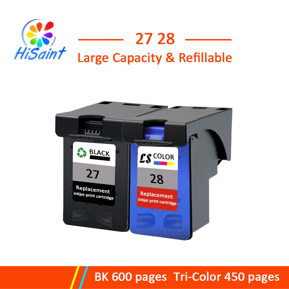 Hisaint 27XL 28XL Refilled Ink Cartridge Replacement For HP 27 28 XL for Deskjet 450 450CI 5550 3420 3520 3550 3650
