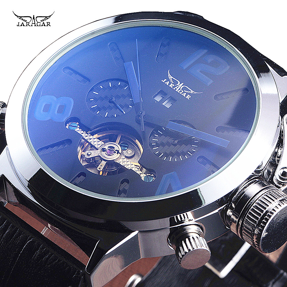 JARAGAR Brand Luxury Tourbillon Automatic Mechanical Fashion Leather Strap Flywheel Men Wrist Watch Calendar Men's Watches chic round neck sleeveless women s dress