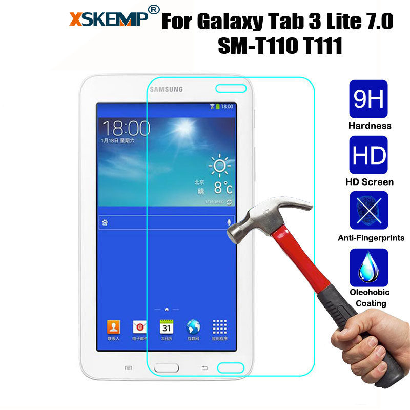 XSKEMP Tempered Glass Screen Protector For Samsung Galaxy Tab 3 Lite 7.0 SM-T110/T111 Anti-Shatter Tablet Protective Film Guard protective clear screen protector film guard for samsung t3100 t3110 galaxy tab 3 transparent