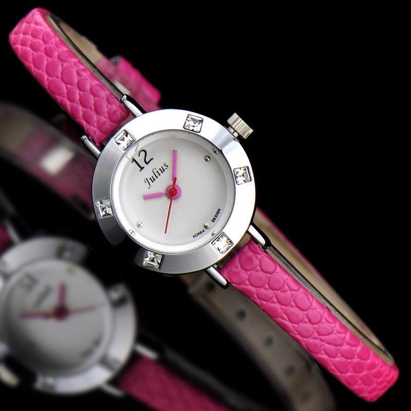 Julius Lady Children Wrist Watch Mini Small Quartz Hours Best Fashion Dress Korea Leather Bracelet Girl