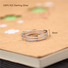 100% 925 Sterling Silver Unique Rings Simple Shiny Open Ring for Women Men Jewelry