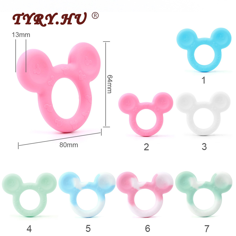 TYRY HU Mickey Baby Teether Silicone Rodents For DIY Teething Teether Toy Food Grade Silicone Beads