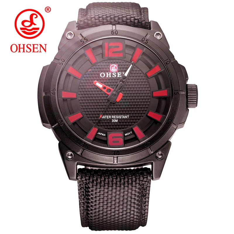 TOP OHSEN Luxury Brand Mens Quartz Waterproof Casual Watch Men Army Military Sports Watches Male Leather Clock Relogio Masculino top brand luxury multifunction waterproof sports watches men quartz watch male stainless steel army military wrist watch relogio